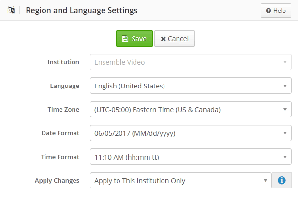Region Language Settings