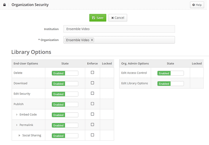 Security Organization Settings