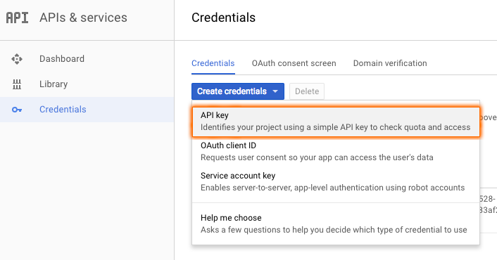 Google API Key Menu