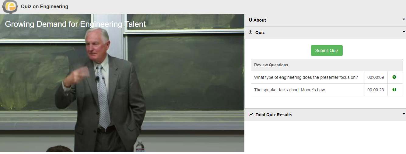 Shows user in quiz. Video player on the left. On the right it shows all questions have been answered by the user.
