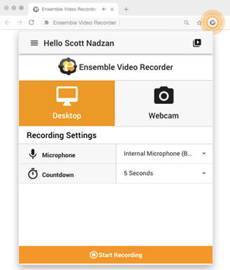 Ensemble Video Recorder Chrome Extension