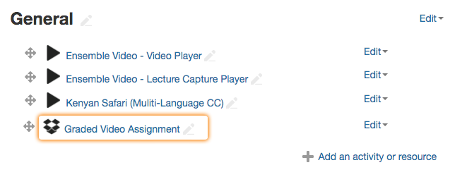 Choose Video Dropbox Assignment in Moodle
